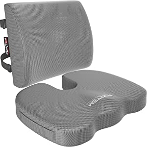 FORTEM Seat Cushion & Lumbar Support for Office Chair, Car, Wheelchair, Memory Foam Pillow Relieves Coccyx & Sciatica Pain, Washable Covers (Grey)