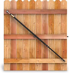 "True Latch 6' Telescopic Fully Adjustable Gate Brace - Wood Privacy Fence Anti Sag Gate Kit - Extends from 40"" to 74"" - Gate Hardware Kit for Outdoor Yard Wooden Fence Gates, 1 PATENTED USA made brace"