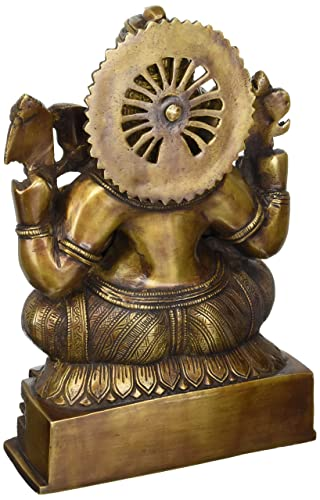 Ganesh Statue – 11 inches Brass Statue of Hindu God Ganesha or Lord Ganpati Bappa for Your Home by Lotus Sculpture Imported from India
