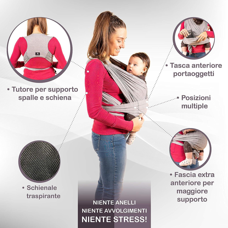 New 2020 Grigio Antracite Taglia Unica Unisex Fascia Porta Bambino Facile Da Indossare KALPAS Fascia Porta Bebe Elastica Baby Wrap Carrier Band Easy On Marsupio Neonati Multiuso