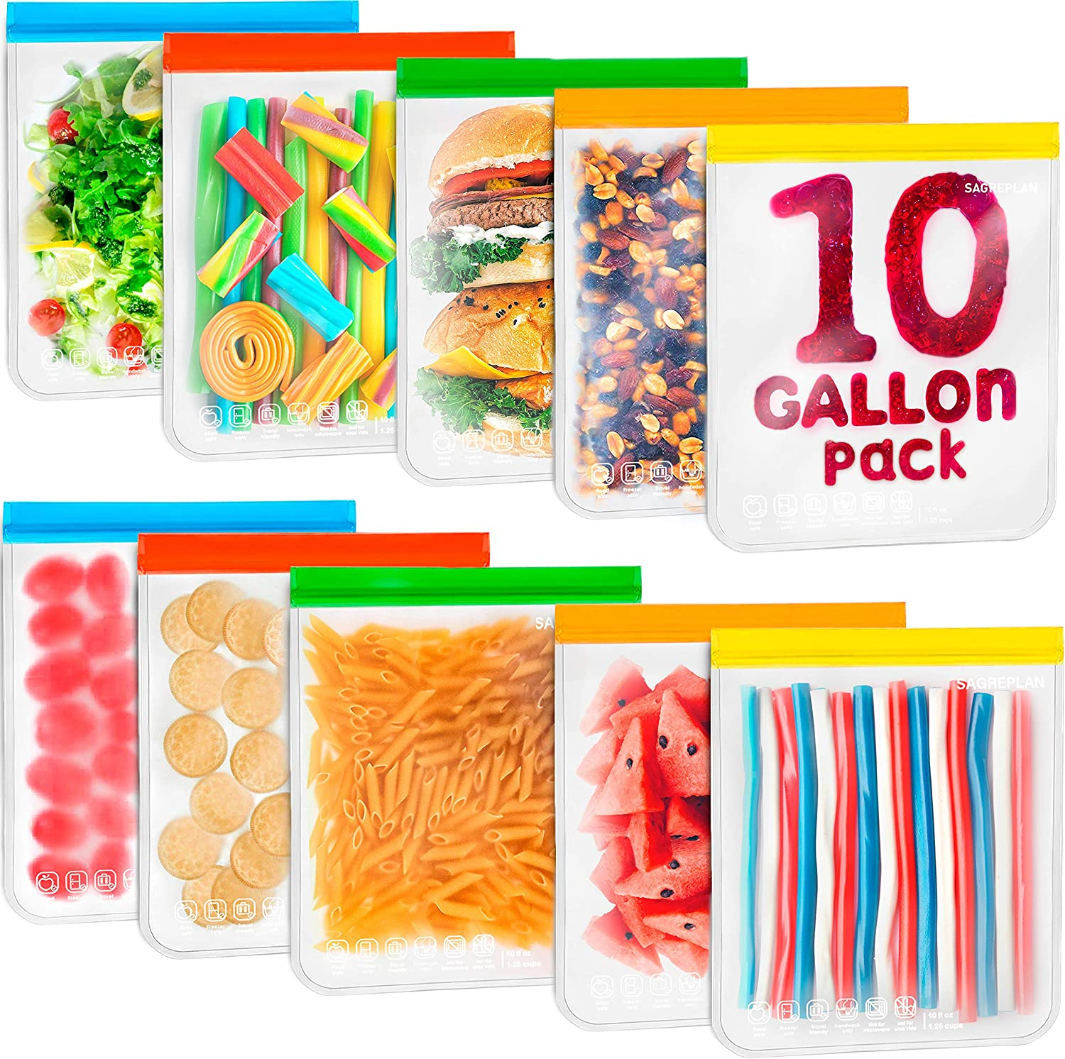 10 Gallon Reusable Storage Bags - Extra Large Leakproof Thick Reusable Freezer Bags with Seal Lock - Eco friendly Non Plastic & Silicone Bags for Food Storage for Sandwich, Snack, Lunch
