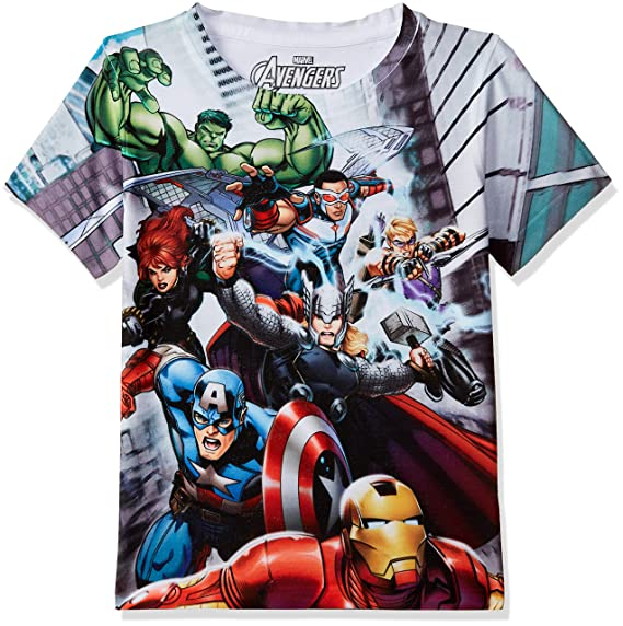 Marvel Avengers Boys Polyester Round Neck Short Sleeves Tshirt - Multicolour (DMA0007) Boys' T-Shirts at amazon