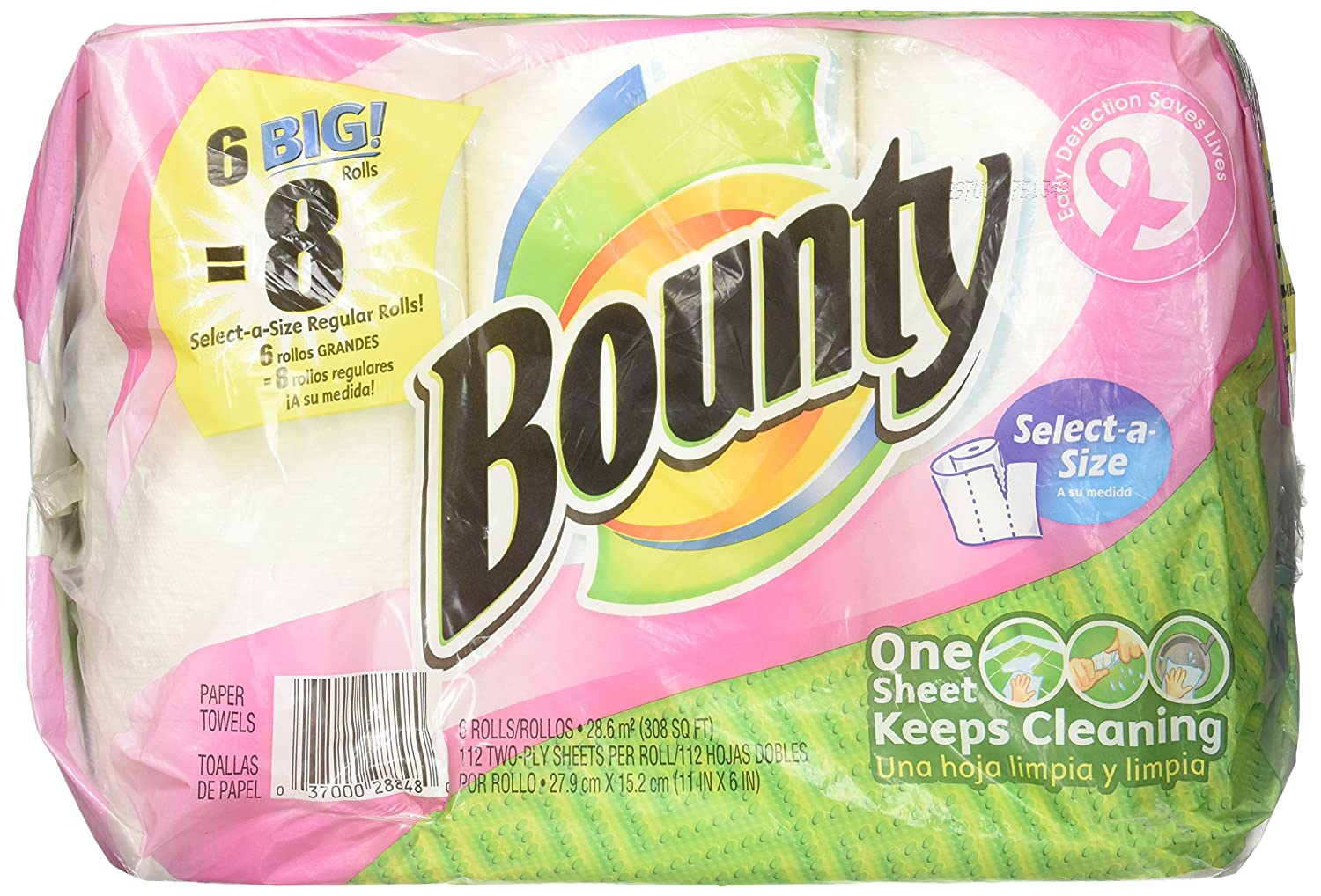 Amazon.com: Bounty Select-a-Size, Big Rolls Paper Towels, White, 6 ea: Health & Personal Care