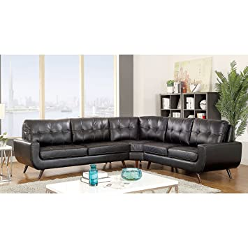 Furniture Of America Garcia Mid Century Modern Tufted Leather Gel Black  Sectional