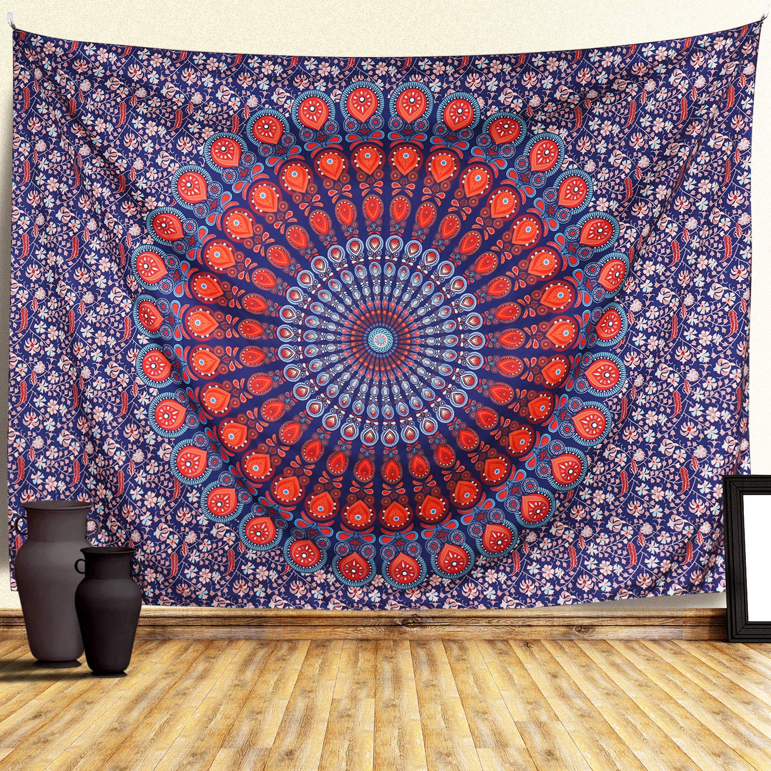 Tapestries Zamat Mandala Tapestry Hd Print Indian Hippie Wall Tapestry Bohemian Tapestry Wall Hanging With Hangers And Nails Floral Wall Blanket For Living Room Bedroom Dorm Room Decor Home Kitchen Novalaw Unl Pt