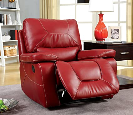 Furniture of America Dunham Recliner Chair, Red