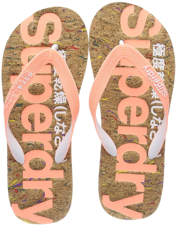 Superdry Damen Cork Flip Flop Zehentrenner, Mehrfarbig (Multi Fleck/Fluro Coral NZ1), 36/37 EU