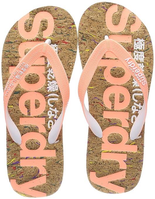 Superdry Damen Cork Flip Flop Zehentrenner, Mehrfarbig (Multi Fleck/Fluro Coral NZ1), 38/39 EU