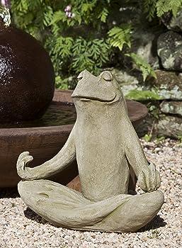 meditating frog statue stone