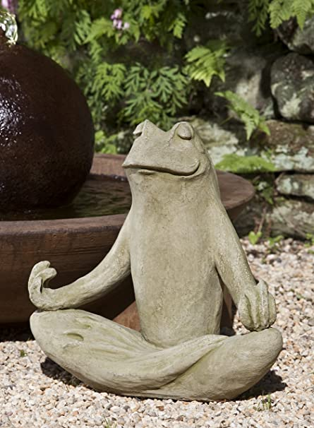 Campania International A 393 EM Totally Zen Frog Statue, English Moss Finish