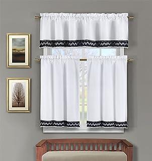 3 Pc Linen Kitchen Window Curtain Set Crochet And Accent Free Hanger Black