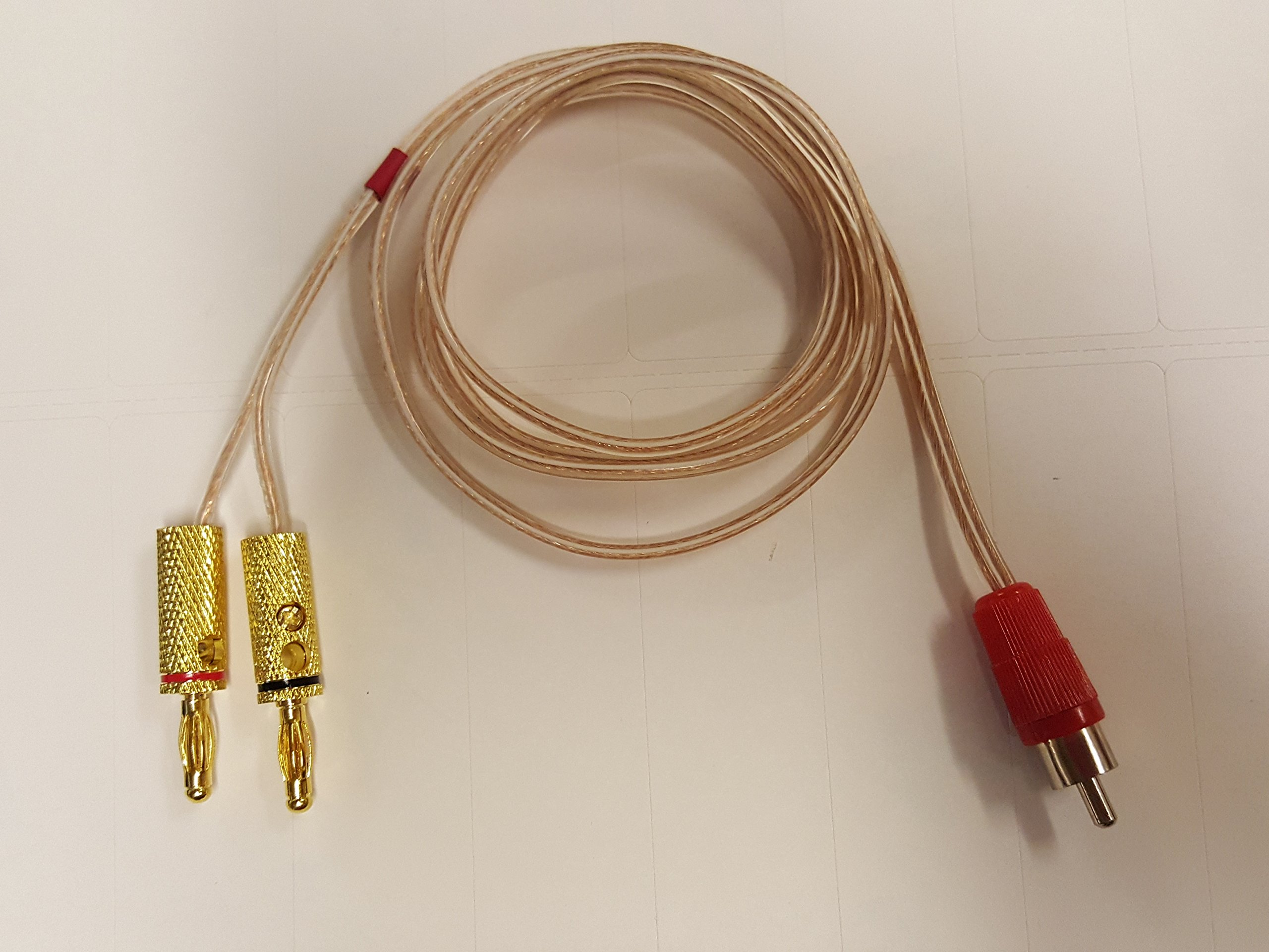 3 Foot - Pair of RCA Males (Black & Red) to 2 Pairs of Banana Plugs on 16 AWG Speaker by iecables