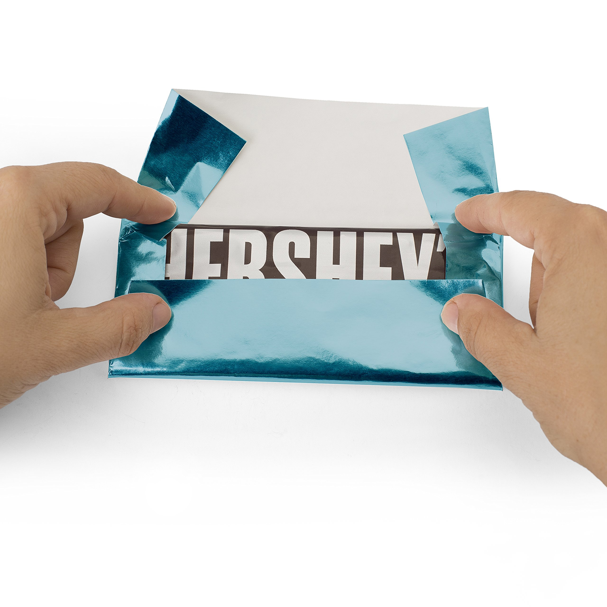 Foil Wrapper (Baby Blue) - Pack of 100 Candy Bar Wrappers with Thick Paper Backing - Folds and Wraps Well - Best for Wrapping 1.55Oz Hershey/ Candies/ Chocolate Bars/ Gifts - Size 6'' X 7.5''