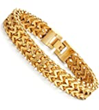 FIBO STEEL Stainless Steel 12MM Two-strand Wheat Chain Bracelet for Men Punk Biker Bracelet,8.0-9.1 inches