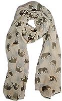 The Olive House Scarves Foulard pour femme avec motifs imprimés d'éléphant, crème et marron