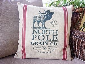 Flowershave357 Reindeer Grains Christmas Pillow Cover North Pole Grain Co Pillow Cover Farmhouse Feed Sack Pillow Cover Christmas Cushion Cover
