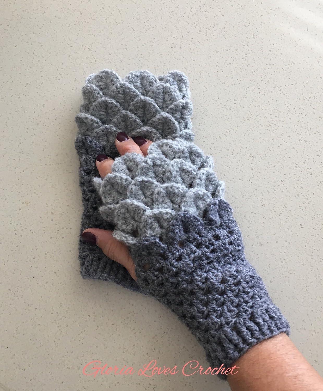 Amazoncom Crochet Fingerless Gloves Dragon Scale Gloves Grey