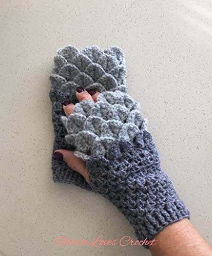 Amazon Crochet Fingerless Gloves Dragon Scale Gloves Grey