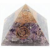 Aatm Reiki Energized chakra healing Amethyst Orgone Pyramid With Clear Crystal Gemstone/EMF Protection Meditation Yoga Energy Generator (Stone of Spirituality & Peace Of Mind)