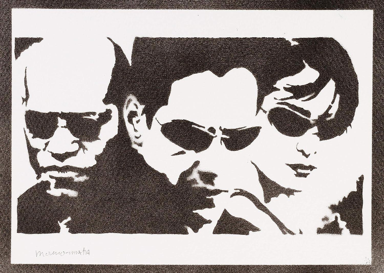 Póster The Matrix Neo Trinity Y Morfeo Grafiti Hecho A Mano ...