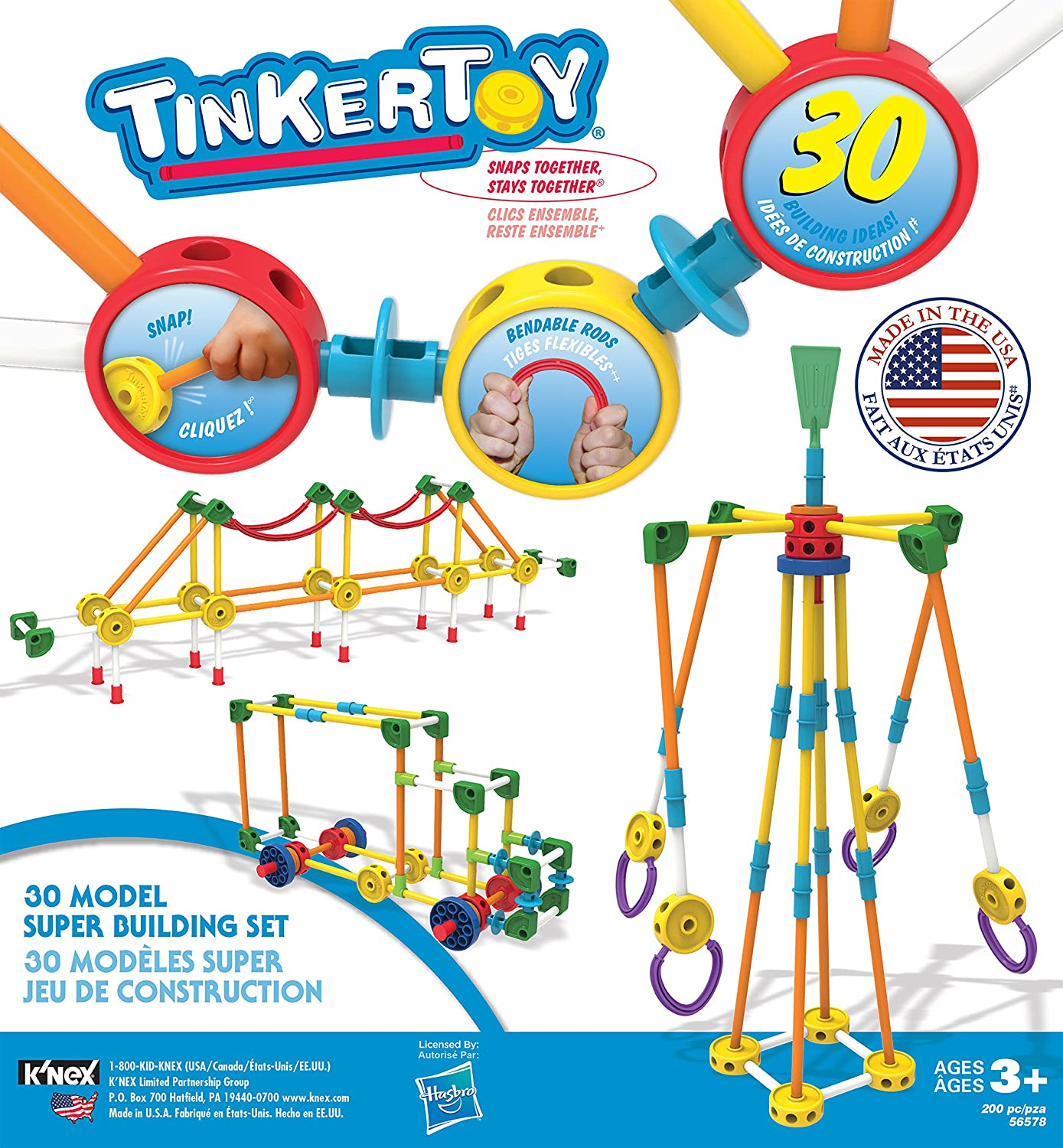 Amazon TINKERTOY 30 Model Super Building Set – 200 Pieces