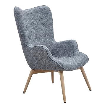 Ohrensessel design  Designer Ohren-Sessel mit Armlehnen aus Wolle grau | Anjo | Grauer ...