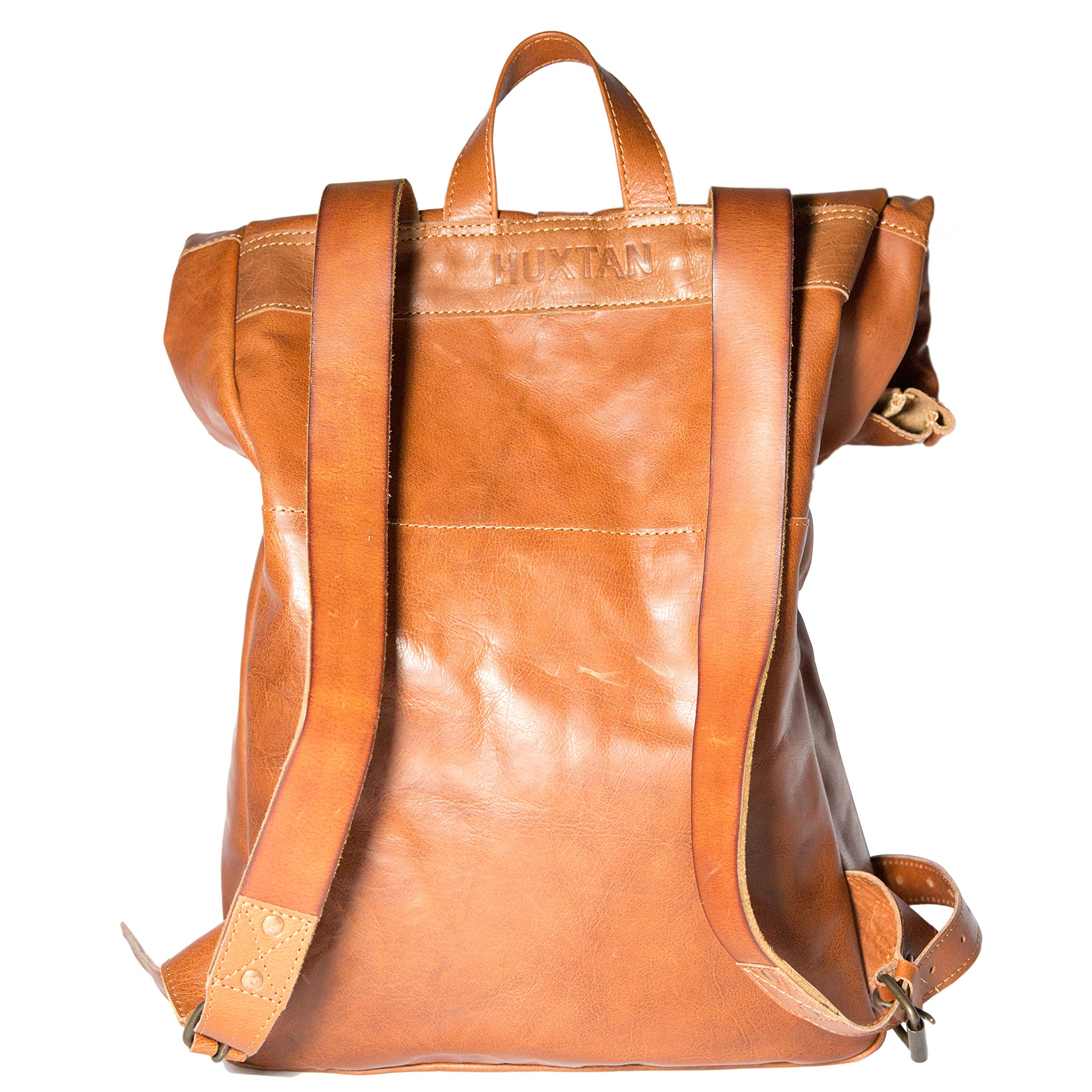 Leather Rolltop Backpack, Vintage Style Bag, Leather Rucksack Travel Backpack by Huxtan (Image #3)
