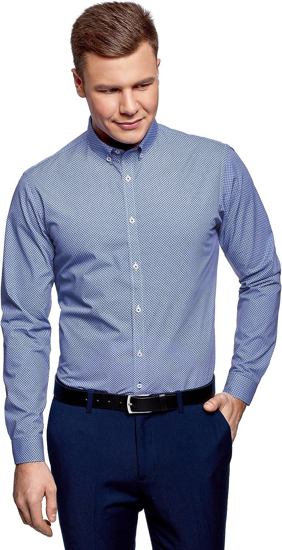 oodji Ultra Hombre Camisa de Algodón con Cuello en Contraste, Azul, сm 39 / ES 46 / S: Amazon.es: Ropa y accesorios