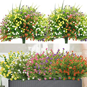 10 Bundles Outdoor Artificial Flowers Gypsophila Baby's Breath Fake Flowers, UV Resistant Faux Plastic Greenery Shrubs Hanging Plants for Home Wedding Garden Porch Window Box Decoration, 5 Colors