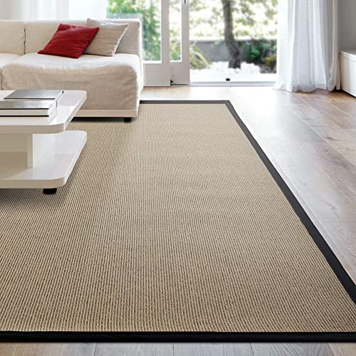 iCustomRug Zara Synthetic Sisal Collection Area Rug and Custom Size Runners, Softer Than Natural Sisal Rug, Stain Resistant Easy to Clean Beautiful Border Rug in Black 8 x 10
