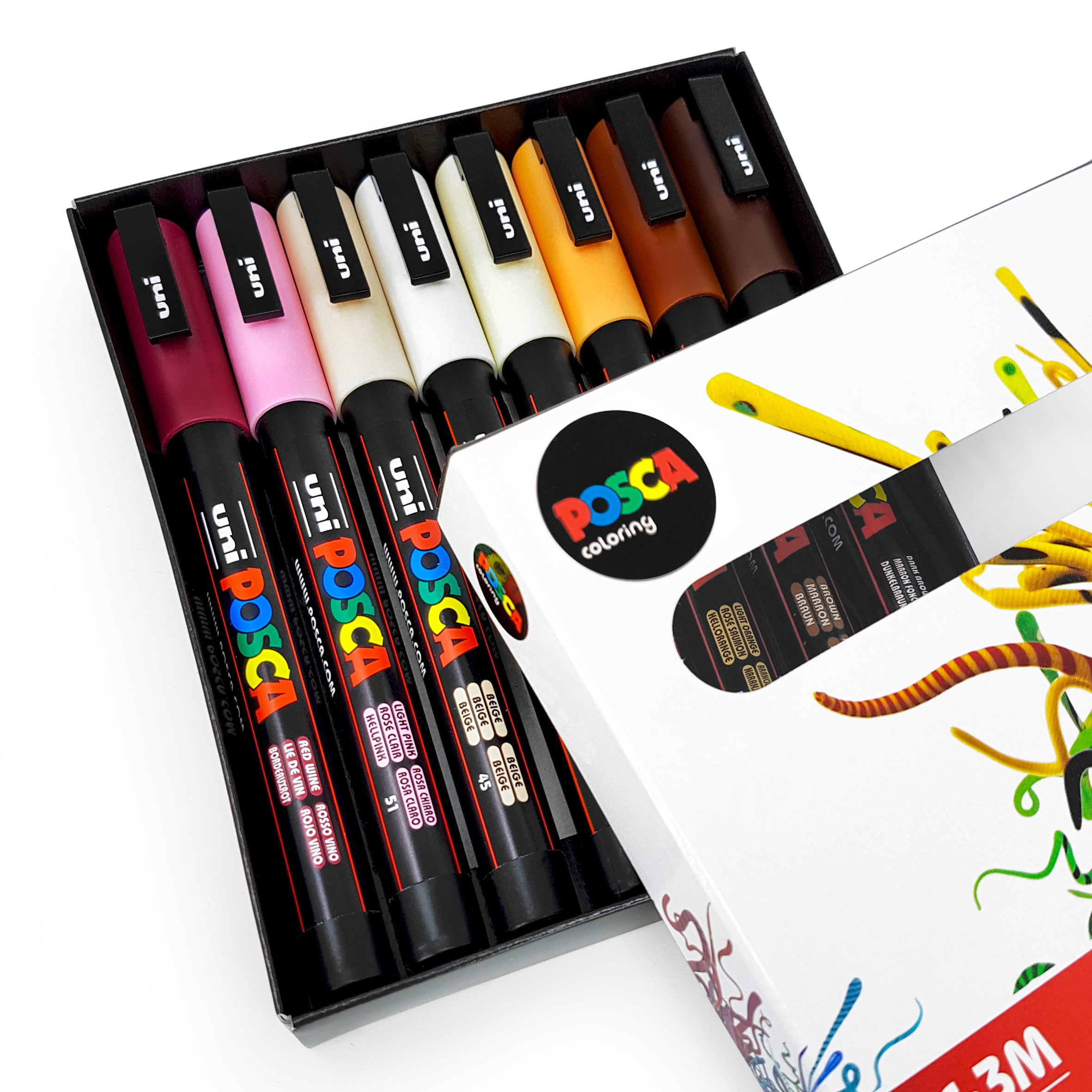 POSCA Colouring - PC-3M Skin Tones - Set of 8 - In Gift Box by posca