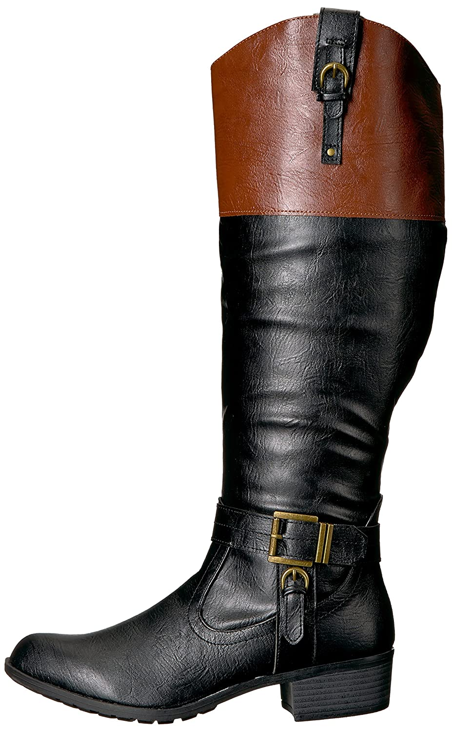 Rampage Women's Ivelia Fashion Knee High Casual Wide Riding Boot (Available In Wide Casual Calf) B076HFTTP9 5.5 M US Wide Shaft|Black/Cognac 5afc75