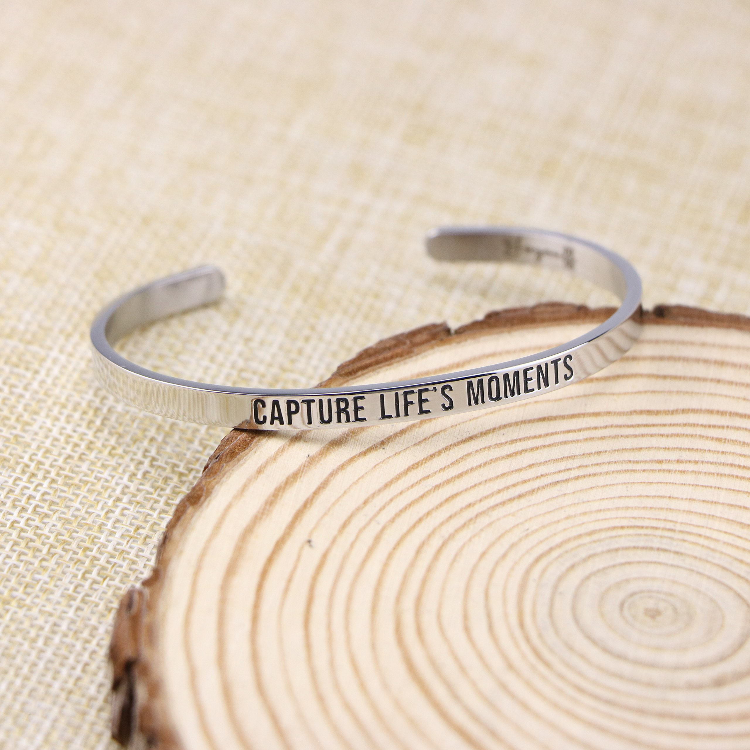 Joycuff New Mom Gift Mantra Cuff Bracelets Photographer Travel Jewelry Capture life's moments by Joycuff (Image #2)