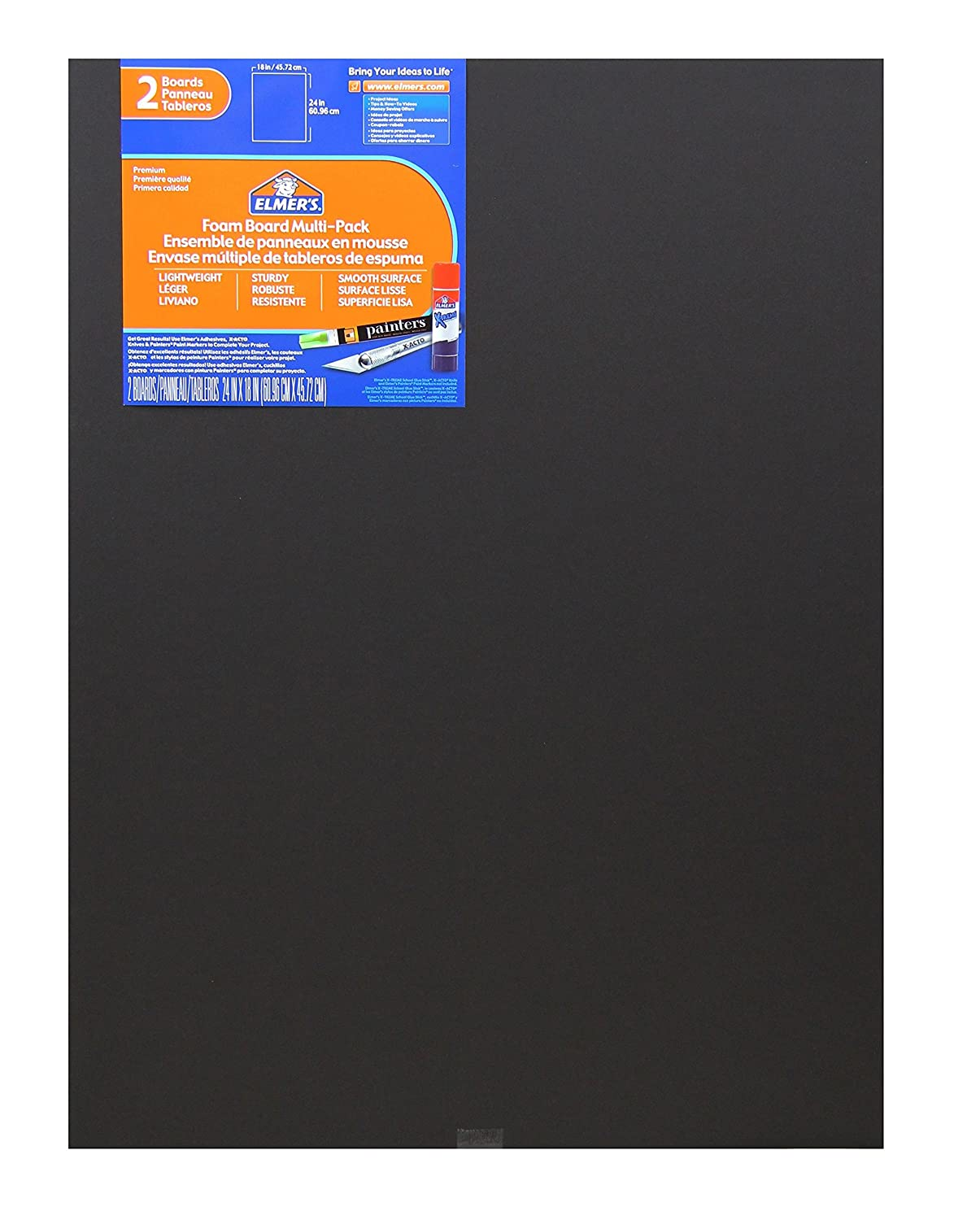 Elmer's Foam Boards, 18 x 24 Inches, Black/Black Core, 2-Count (950026) Elmer's Foam Boards Elmers