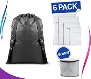 "Techflare Laundry Heavy Duty Bag Backpack [31"" x 25""] w/Bonus 5 x Reusable Strong Mesh Bags (for Delicate Bras Underwear Lingerie Socks) Premium Quality Travel Organizer, Men, Students, Women"