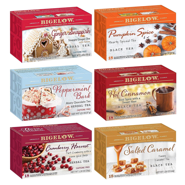 Bigelow Seasonal 6 Flavor Variety Tea Bags, 18-Count Box (Pack of 6), 108 Tea Bags Total