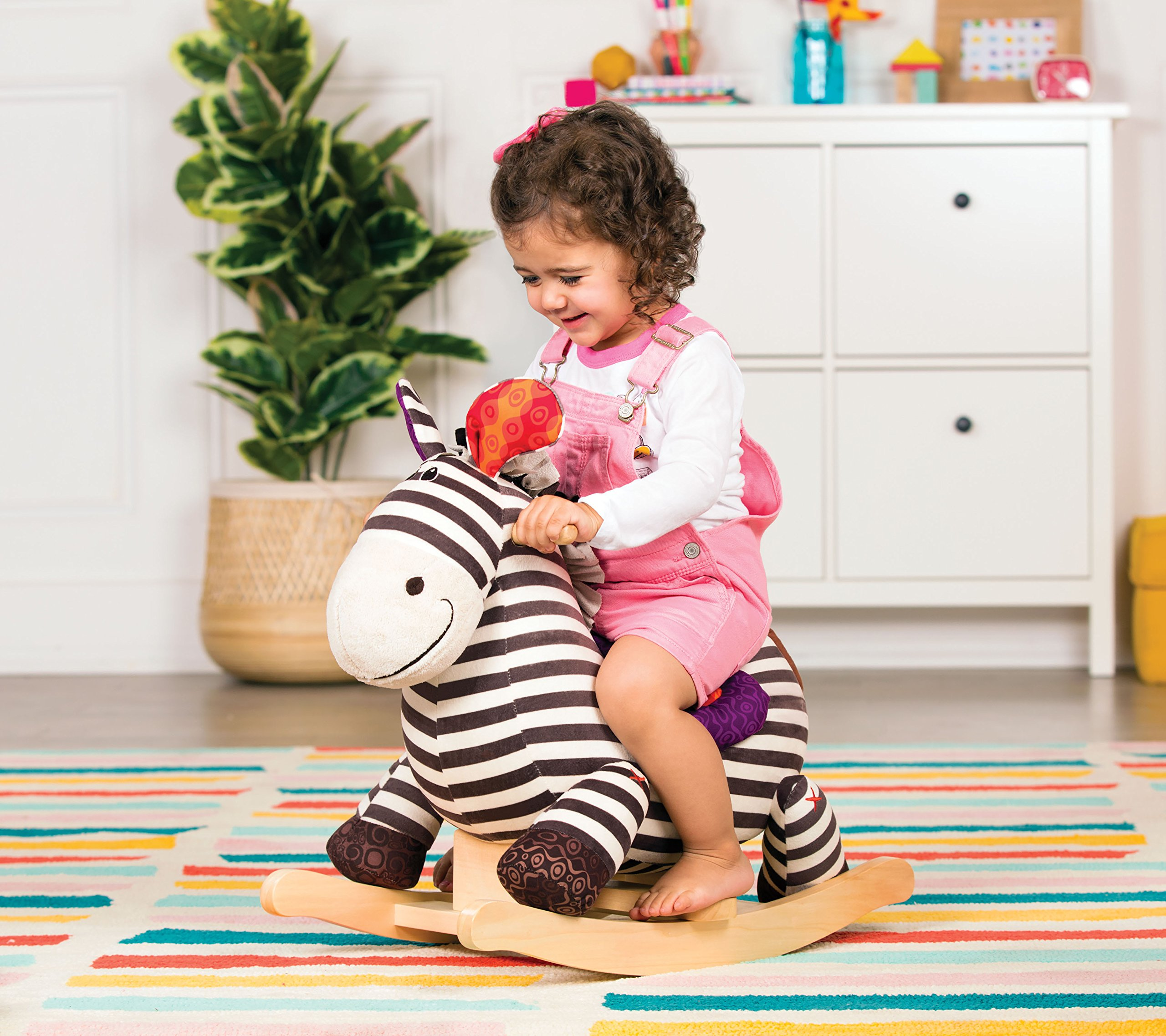 B toys – Kazoo Wooden Rocking Zebra – Rodeo Rocker – BPA Free Plush Ride On Zebra Rocking Horse for Toddlers and Babies 18m+ by B. toys by Battat (Image #6)