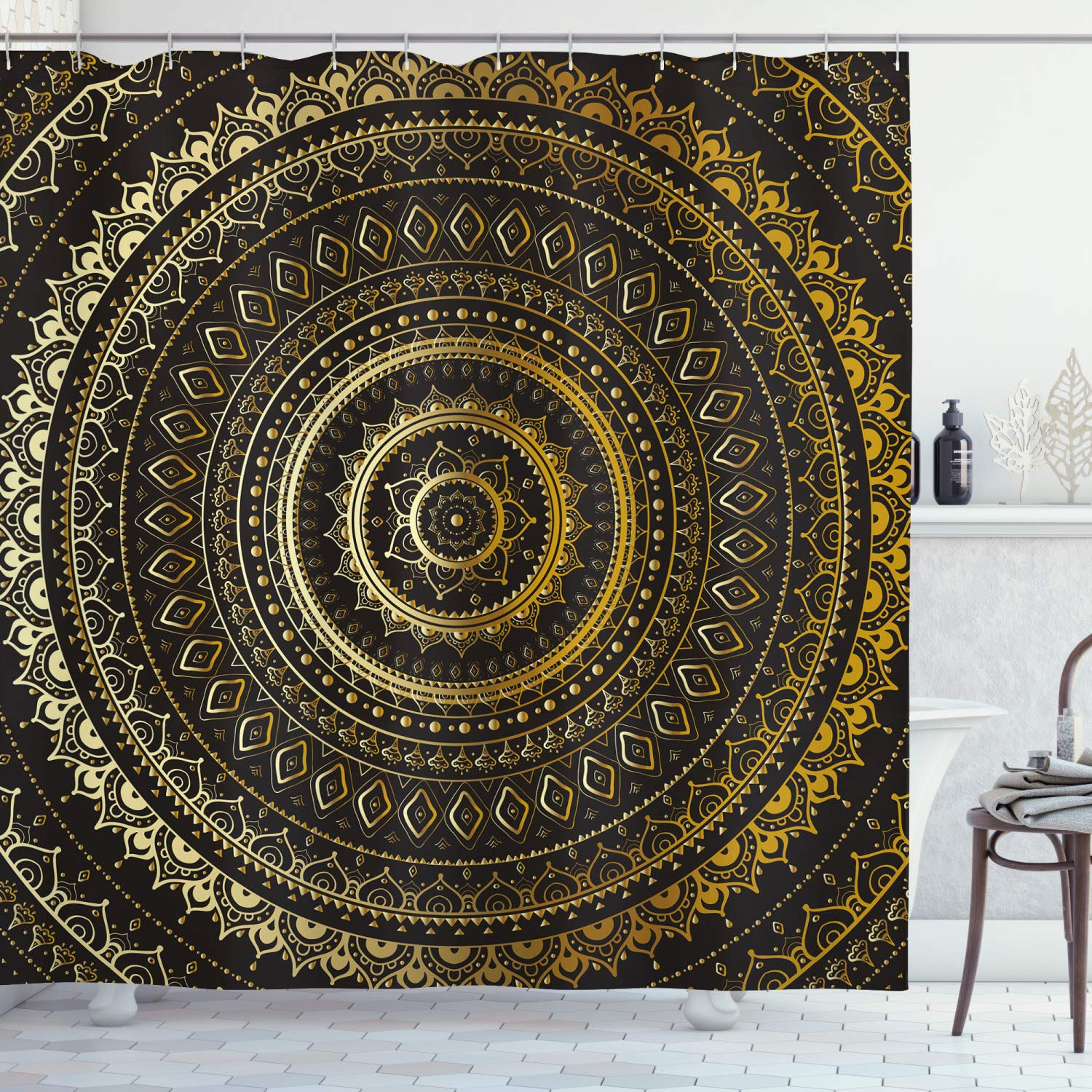 Ambesonne Gold Mandala Shower Curtain by, Indian Decorative Motif Symbol of Universe in Balance Oriental Flora, Fabric Bathroom Decor Set with Hooks, 70 Inches, Gold Black Yellow