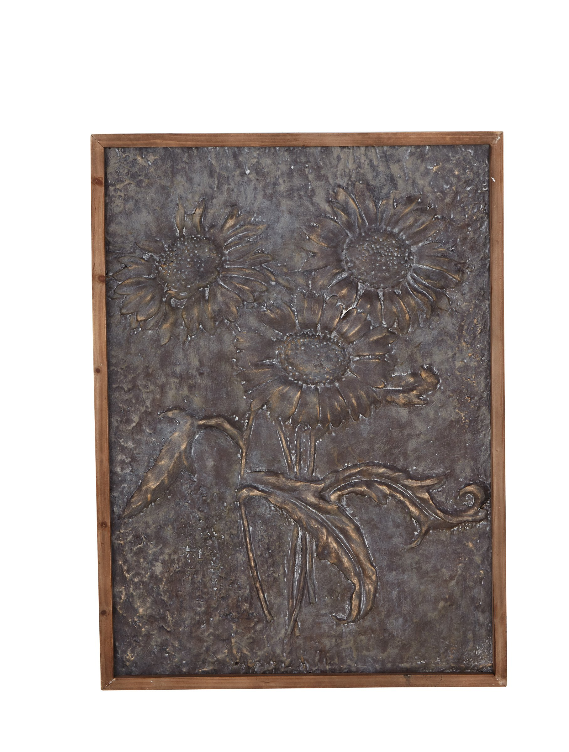 UMAC Wood and Burnished Bronzed Metal Sunflower Wall Decor Art, 40.5 Inches High x 29.5 inches Wide