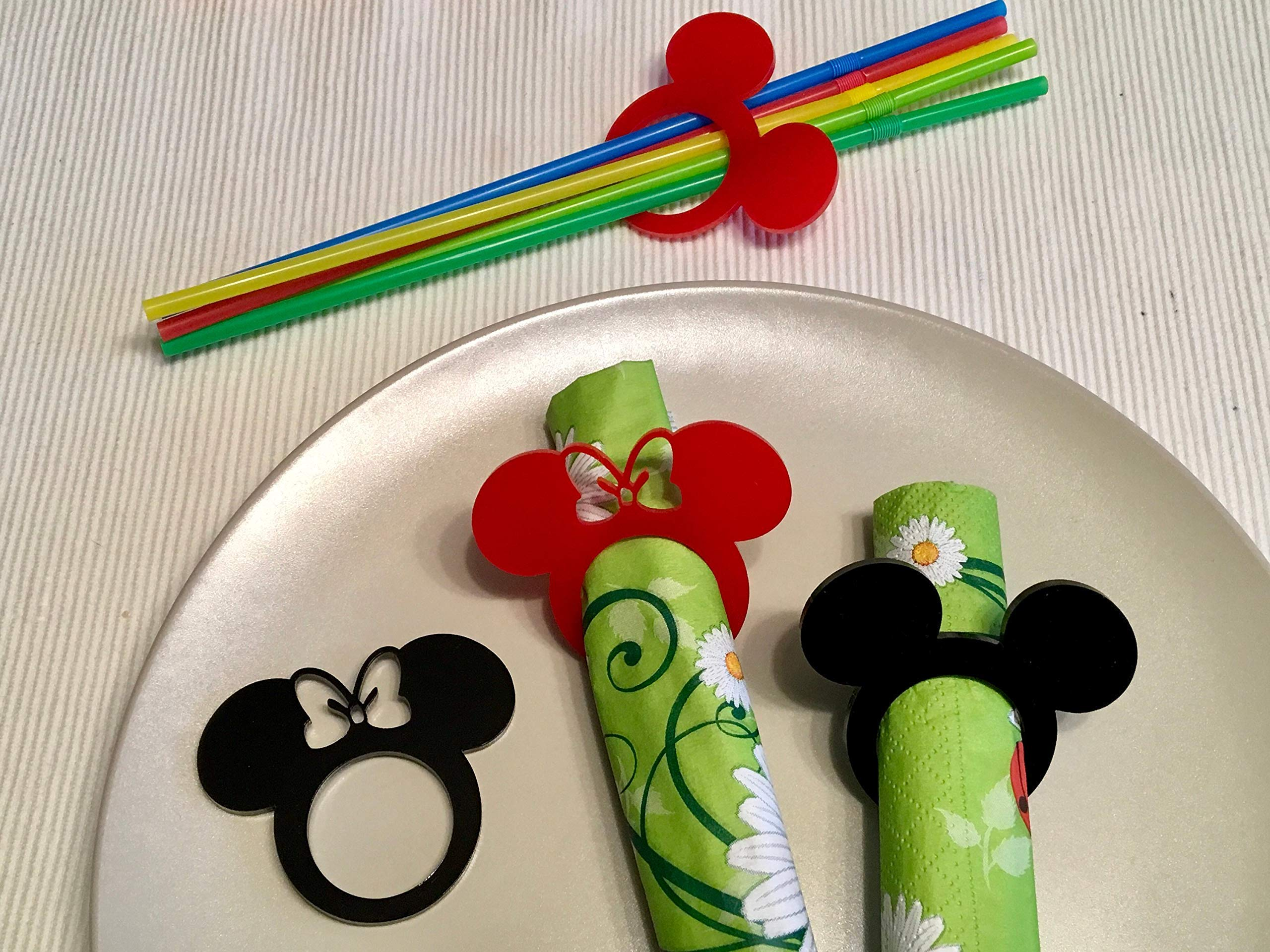 Mickey Mouse Ears Minnie Mouse with Bow Acrylic Napkin Ring Holders for Kids Birthday Party Decor Mickey Theme Party Favors Disney Decorations Tableware Cartoon Table Settings Clubhouse Cloth Napkins