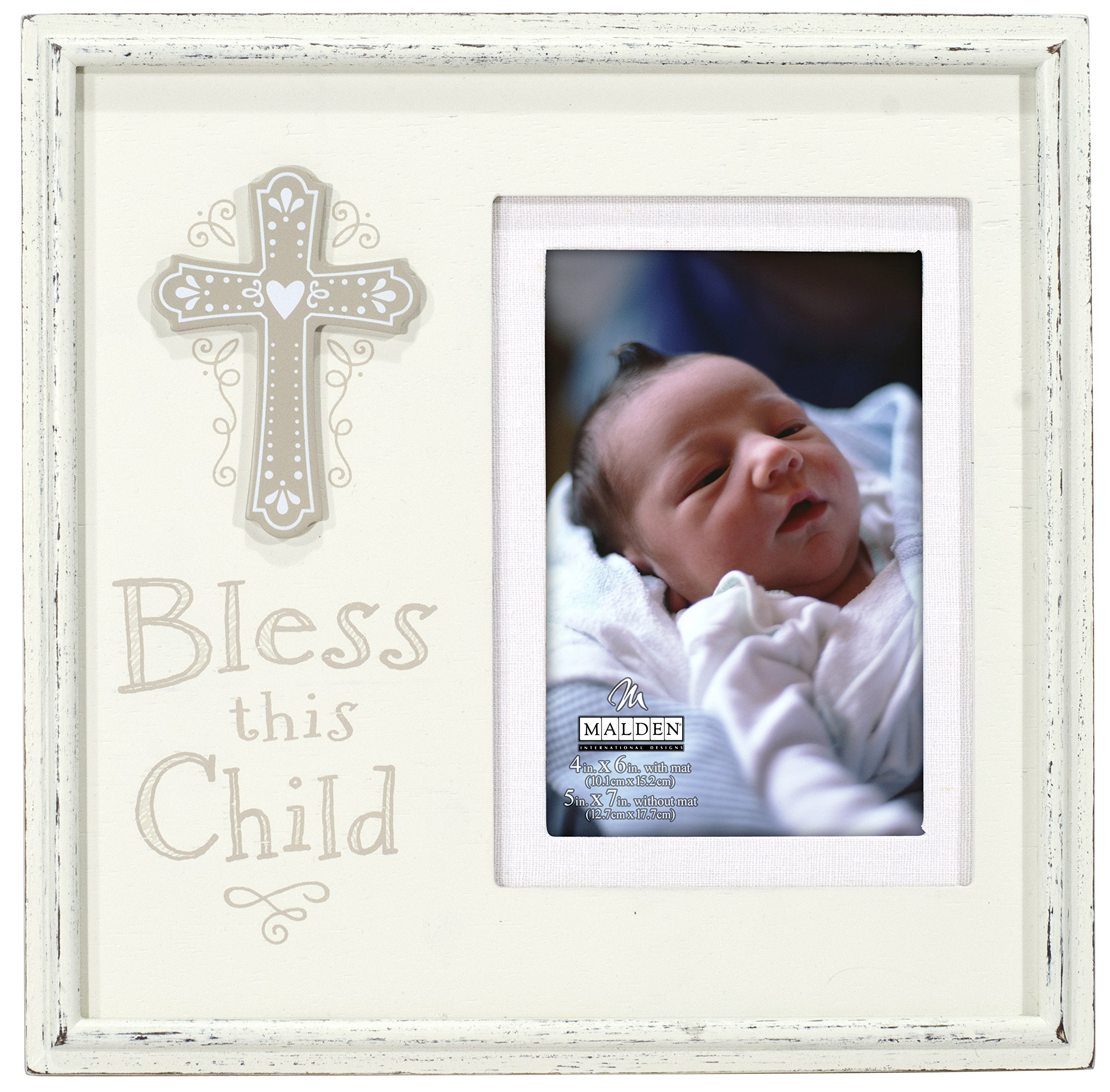Malden International Designs Religious Sentiments Bless This Child Matted Wooden Distressed Picture Frame, 4x6, Cream