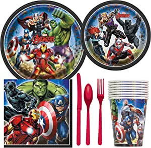 Marvel Avengers Superhero Birthday Party Supplies Pack Including Cake & Lunch Plates, Cutlery, Cups & Napkins for 8 Guests