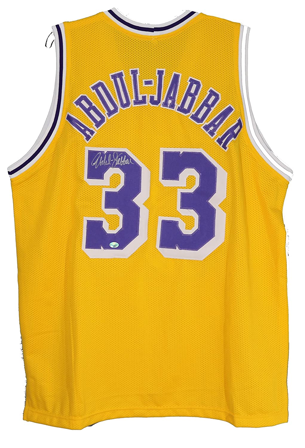 2319baba419 Kareem Abdul Jabbar Los Angeles Lakers Signed Autographed Yellow  33 Custom  Jersey at Amazon s Sports Collectibles Store