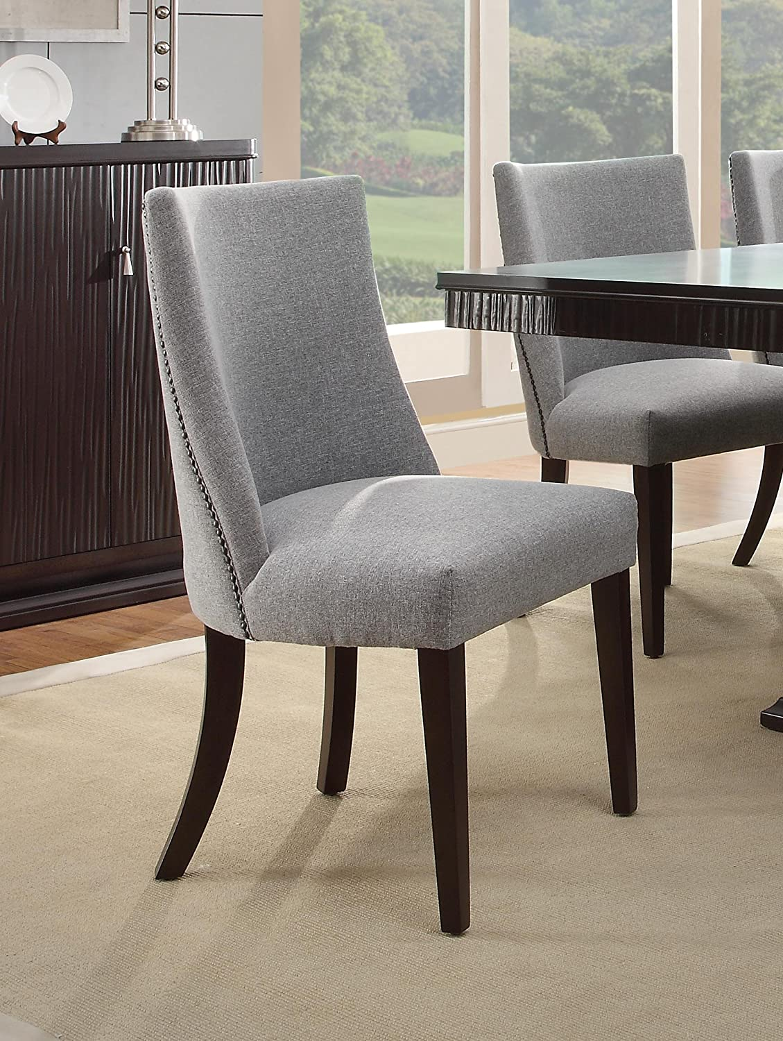 grey dining room chair. Amazon.com - Homelegance 2588S Accent/Dining Chair (Set Of 2), Blue/Grey Chairs Grey Dining Room