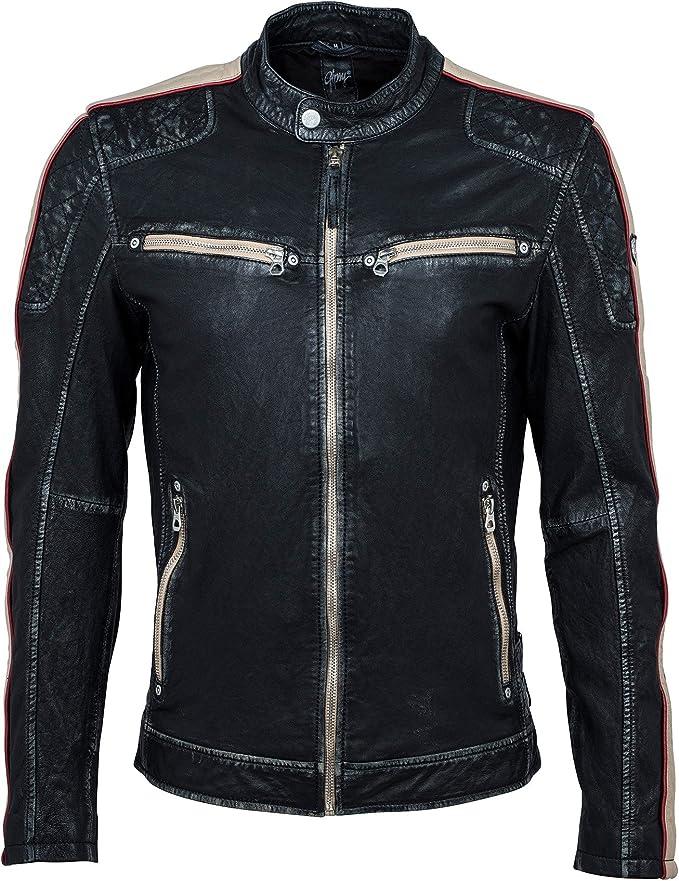 Gipsy Herren Lederjacke Bikerjacke Echt Leder schwarz inkl