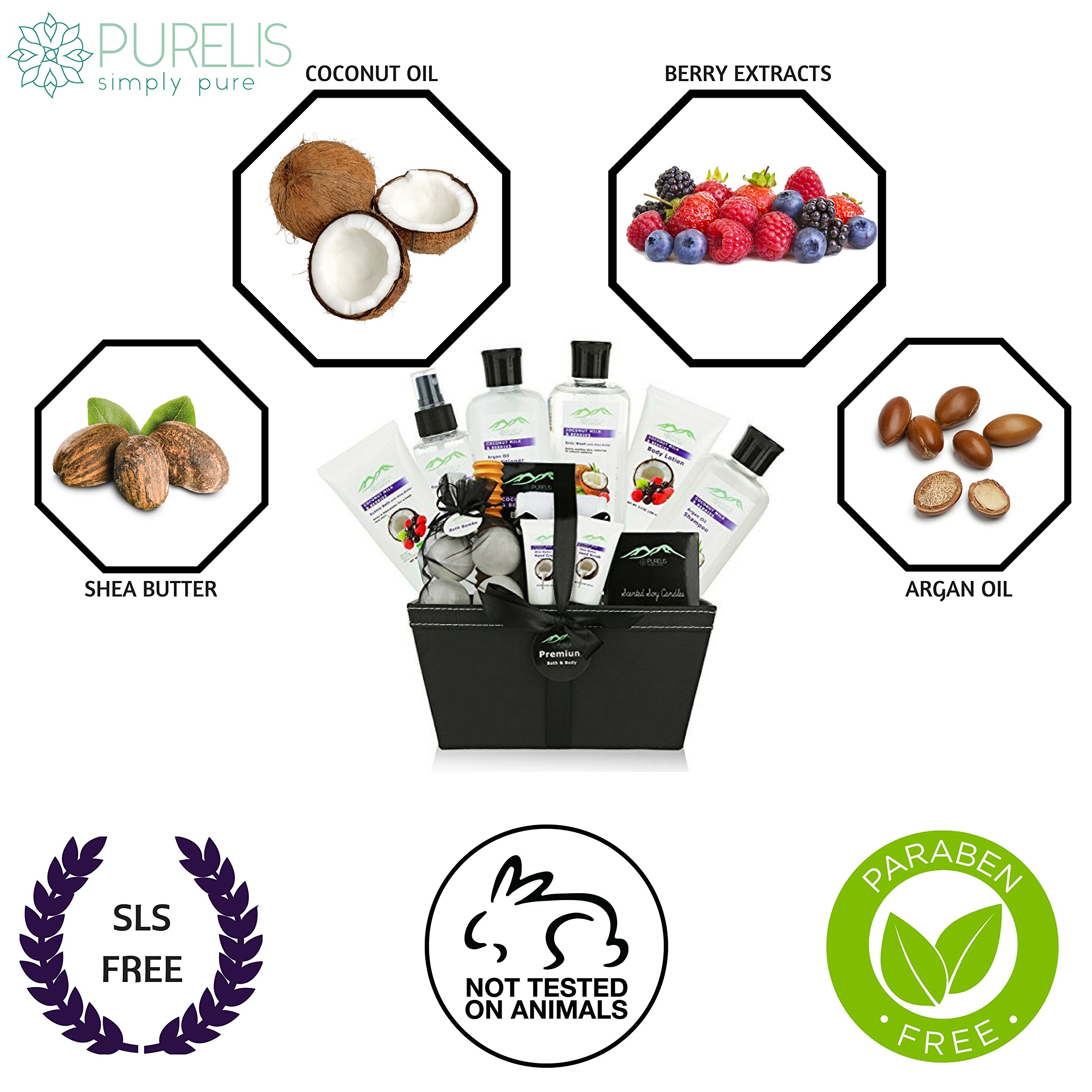 Premium Deluxe Bath & Body Gift Baskets. 18 PC Large Spa Basket for Birthday Gifts Holiday Gift etc. #1 Spa Gift Basket for Women, Teens! Women Gift Basket Ideal for Mothers Day Gift for Mom! by Purelis (Image #5)