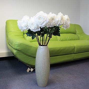 Saffronstem Kunstliche Blumen Weiss Rose Aus Latex Real Touch