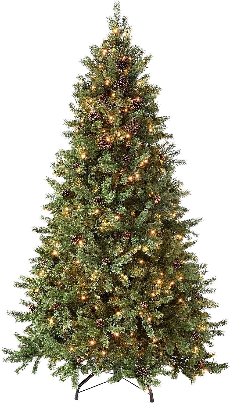 WeRChristmas 1.52 meters//1,50 m Craford Zapfen Pre 8 Einstellungen Light Multi Funktion Weihnachtsbaum mit 300 warmwei/ßen LED-Leuchten Controller klappbare Zweige