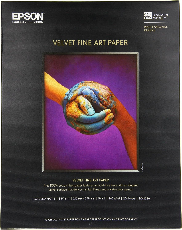 White 8-1//2 x 11 Velvet Fine Art Paper 20 Sheets//Pack