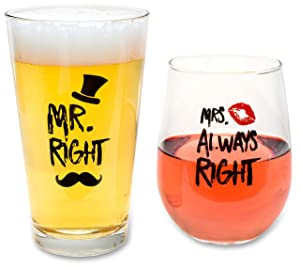 Funny Wedding Gifts - Mr. Right and Mrs. Always Right Novelty Wine Glass & Beer Glass Combo - Engagement Gift for Couples